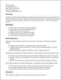 Call Center Quality Analyst Sample Resume