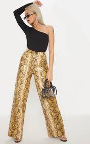 petite brown faux leather snake print wide leg pants image 1