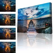Led Lighted Canvas Painting 8 Led Lighted Abstract Lake Canvas Art Print Light Up