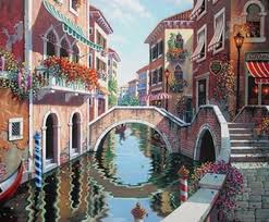 new mosaic full diamond embroidery beads scenic venice bridge cottage town flower diamonds cross stitch painting