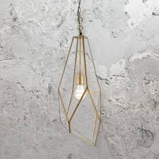angular glass cage pendant light antique brass angular geometric frame with clear glass planes