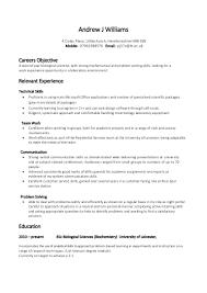 Resume Objective Skills Resume For Study