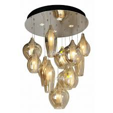 modern 2 layers of cognac blown glass chandelier 7767