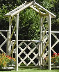 cottage wooden garden arch and gate