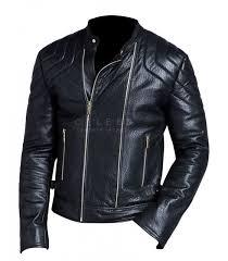 mens biker style black leather jacket mens