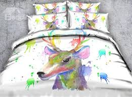 60 3d watercolor deer printed 4 piece white bedding sets duvet covers