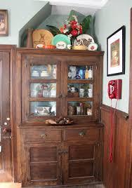 buffet hutch dinner pine wood farmhouse corner hutch with open top dining bench walnut
