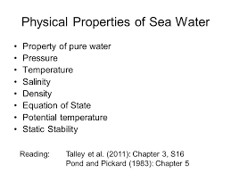 property of pure water pressure temperature salinity density equation of state potential temperature static ility physical