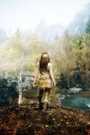 ... Preview Wallpaper Skyrim, Girl, Autumn, Trees