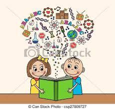 cartoon children read a book csp27809727