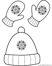 Small Picture Winter Hat and Mittens Coloring Page Clothing