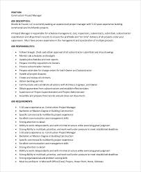 8+ Construction Project Manager Job Description Samples | Sample ...