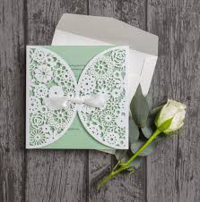 Vintage Lace Laser Cut Personalised Wedding Invitation With Mint