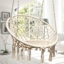 international sorbus hammock chair macrame swing 265 pound capacity white patio furniture