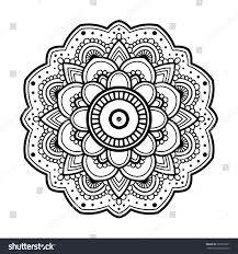 Mandala Indian Designs Black Simple Indian Floral Mandala Abstract Stock Vector
