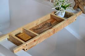 pallet wood bath tray natural