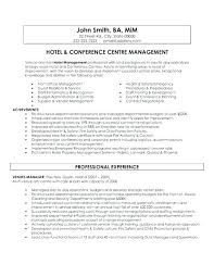 Resume For Hospitality Magnificent Hotel Manager Resume Samples Letter Resume Directory