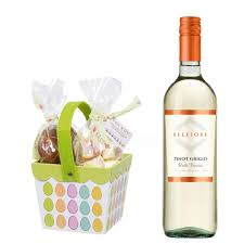 send belfiore pinot grigio with easter basket filled with belgian chocolate eggallows
