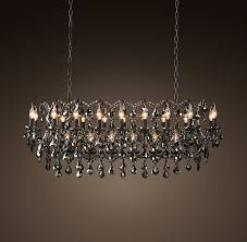19th c rococo iron smoke crystal 50 rectangular chandelier matte natural iron