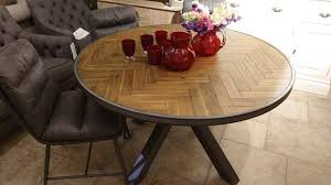 clearance parquet round dining table