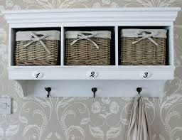 Wall Coat Rack With Baskets Extraordinary Entertaining White Wall Shelf With Baskets V32 Overhead Coat