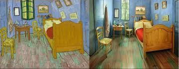 van gogh s painting left and the actual recreated bedroom photo art institute of chicago facebook