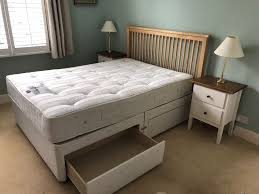 double divan bed with mattress and wooden headboard 2 available