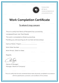 Work Certificate Choice Image Certificate Of Completion Template Word