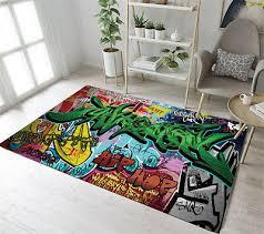 floor rug mat bedroom carpet living room area rugs hip hop street graffiti wall
