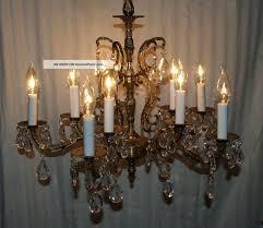 vintage solid ornate brass crystal prism chandelier 10 light made in spain