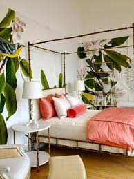 Stylish Tropical Bedroom With Fresh Wallpaper And Bamboo Canopy Bed ...