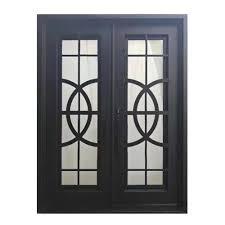 matte black right hand inswing 2 lite tempered rainstorm glass iron prehung front door