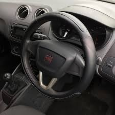 black steering wheel cover grip leather look sleeve glove seat ibiza 2008 2016