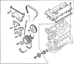 solved i need timing belt digrams for a 94 ford probe gt fixya exploded view of the timing cover assembly for the 1 5l and 1995 1 6l engines 1995 98 1 8l engine is similar