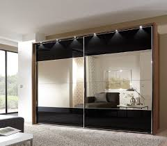 versatile stylish mirror sliding doors wardrobe bronze stripe shelves hanging rail compartment colour preferences