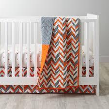 orange chevron crib bedding  the land of nod