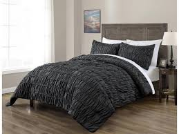 ruched beddings 3 piece king cal king size pich pleat comforter set charcoal grey