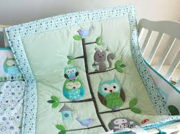 green crib bedding set baby bedding set embroidery cartoon owls bird hedgehog squirrel crib bedding set