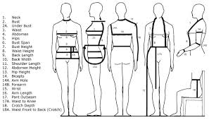 full body measurement chart size guide under the root