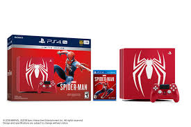 this limited edition marvel s spider man ps4 pro bundle includes a fully customized amazing red ps4 pro console featuring the spider icon dualshock 4