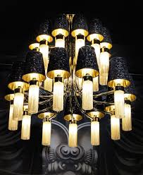 signature collection lighting grand scale luxury 2 tiered alessandro chandelier golden brass black silk shades chain embellishments 24 e18 lights