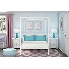 Amazon DHP Modern Metal Canopy Bed Full White Kitchen & Dining