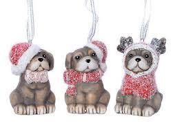Christbaumschmuck Hunde Mit Nikolausmütze 3 Stück