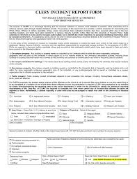 Clery Incident Report Form Non Police Campus Security