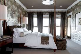 View in gallery Stylish master bedroom with patterned wallpaper ...