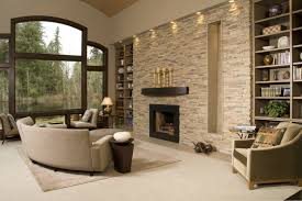 natural stone accent wall in the wood
