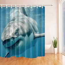 nymb ocean shower curtain shark jaws tusk keenness predation in underwatar mildew resistant polyester