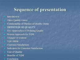 total quality management ldquo must know rdquo concepts for engineers ppt 2 sequence of presentation