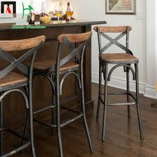 wood and iron bar stools. Perfect Iron Louis Fashion European Style Bar Chairs Iron Wood Chair Simple Modern  Stool Desk For And Stools