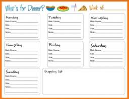 dinner template weekly meal menu template pictures family dinner menu